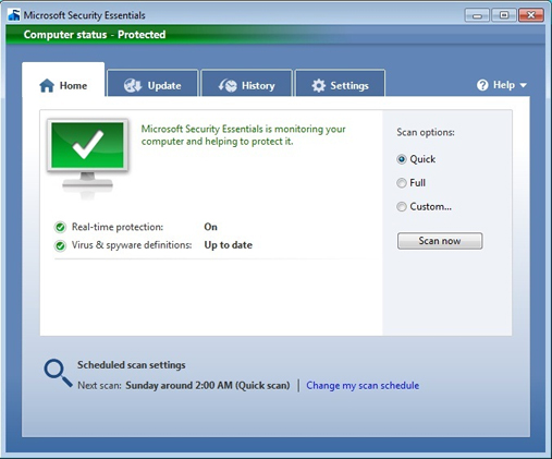 microsoft security essentials limitare risorse sistema ram cpu