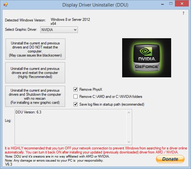 display driver uninstallar disinstallare driver scheda grafica nvidia amd